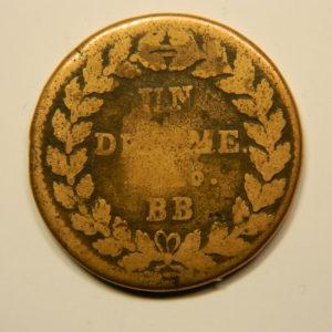 1 Décime Louis XVIII 1814 BB 2 points B EB90679