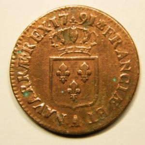SOL à l'Ecu Louis XVI 1791.A Léopard TTB+ EB90683