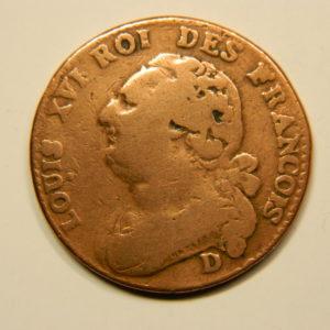 12 DENIERS François Louis XVI 1791D TB+  EB90686