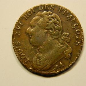 12 DENIERS François Louis XVI 1791.A TTB+  EB90687