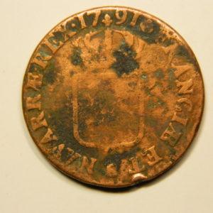 SOL à l'Ecu Louis XVI 1791T  B+ EB90689