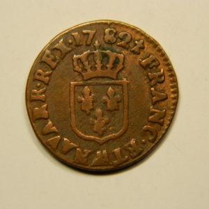 Liard à l'Ecu Louis XVI 1782AA TB RARE R3 EB90690
