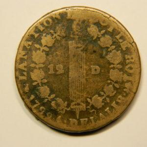 12 DENIERS François Louis XVI 1792T TB  EB90693
