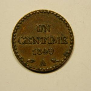 1 Centime Dupré1849A TTB+ EB90694