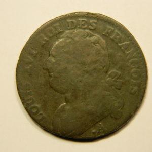 12 DENIERS François Louis XVI 1791.A TTB- revers décalé FAUTEE  EB90695