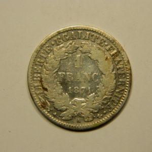 1 Franc Cérès 1871 A  TTB Argent 835°/°° EB90699