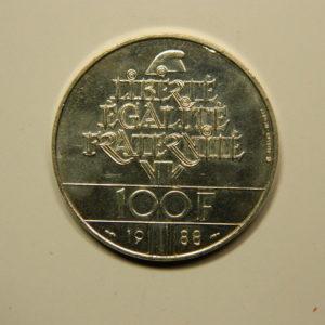 100 FRANCS Fraternité 1988  SPL Argent 900°/°° EB90700