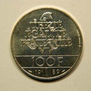 100 FRANCS Droit de l'Homme 1989 SUP Argent EB90710