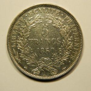 5 Francs Cérès 1850A SUP- Argent 900°/°° EB90738