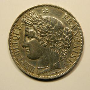 5 Francs Cérès 1850A SUP Argent 900°/°° EB90740