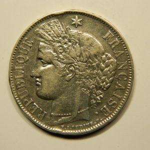 5 Francs Cérès 1851A SUP- Argent 900°/°° EB90744