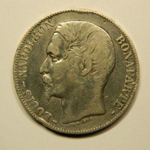 5 Francs Louis Napoléon Bonaparte tête large 1852A TTB EB90748