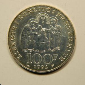 100 FRANCS Clovis 1996 SUP++ Argent 900°/°° EB90755