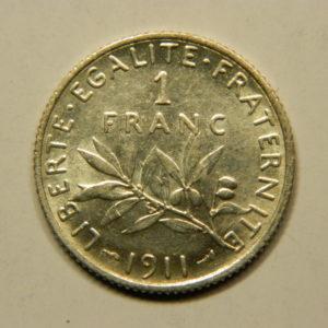 1 Franc Semeuse 1911 SUP  Argent   835°/°° EB90756