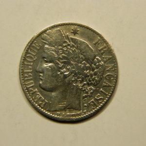 1 Franc Cérès 1872A petit A TTB- Argent 835°/°° EB90761