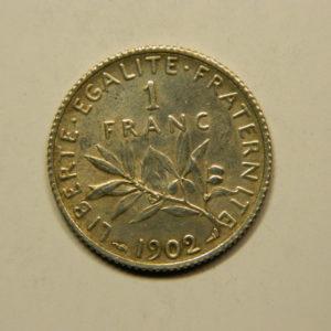 1 Franc Semeuse 1902 SUP Belle Patine Argent   835°/°° EB90763