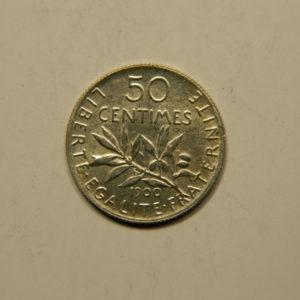 50 Centimes Semeuse 1900 SUP Argent 835°/°° EB90765