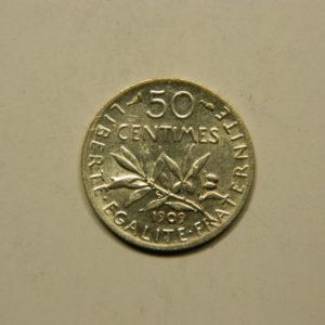 50 Centimes Semeuse 1909 SUP Argent 835°/°° EB90766