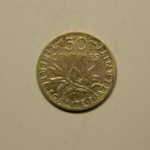 50 Centimes Semeuse 1911 TTB Argent 835°/°° EB90767