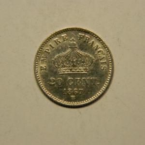 20 Centimes Napoléon III Tête laurée 1867BB SUP Argent 835°/°° EB90770
