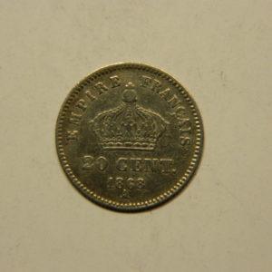 20 Centimes Napoléon III Tête laurée 1868A TTB Argent 835°/°° EB90771