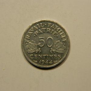 50 Centimes Bazor Etat Français 1944B SUP++ EB90782