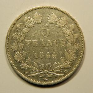 5 Francs Louis-Philippe Ier IIIème Type 1844BB TTB EB90795