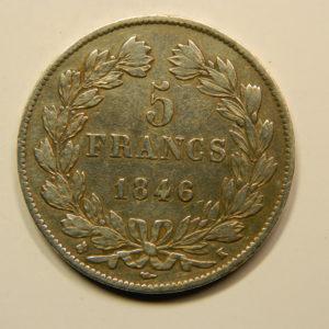 5 Francs Louis-Philippe Ier IIIème Type 1846K TTB+ EB90800