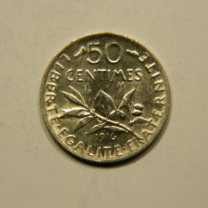 50 Centimes Semeuse 1916 SUP Argent 835°/°° EB90802