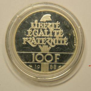 100 FRANCS Fraternité 1988 Epreuve BE FDC Argent 900°/°° EB90815