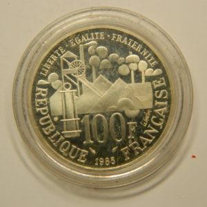 100 FRANCS Emile Zola1985 Epreuve BE FDC Argent 900°/°° EB90816