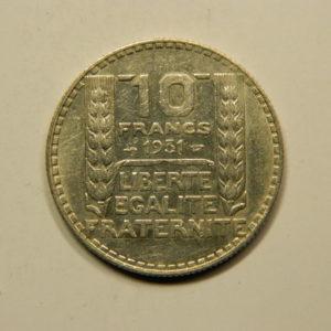 10 Francs Turin 1931 TTB Argent 680°/°°  EB90822