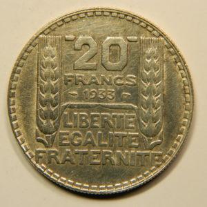 20 Francs Turin 1933 Rameaux Courts SUP Argent 680°/°°  EB90823