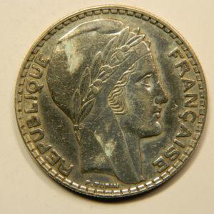 20 Francs Turin 1933 Rameaux Longs SUP Argent 680°/°°  EB90824
