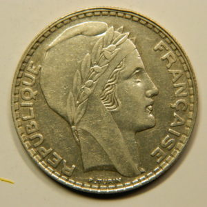 20 Francs Turin 1933 Rameaux Courts SUP Argent 680°/°°  EB90825