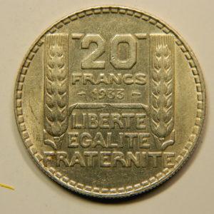 20 Francs Turin 1933 Rameaux Longs SUP Argent 680°/°°  EB90826