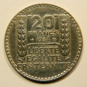 20 Francs Turin 1934  SUP+ Argent 680°/°°  EB90829