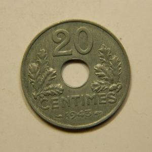 20 Centimes Type 20 lourde Etat Français Zinc 1943 SPL EB90844