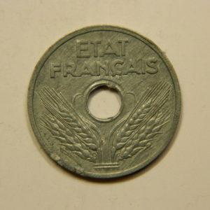20 Centimes Type Vingt Etat Français Zinc 1941 SUP+++ EB90850