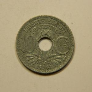 10 Centimes Lindauer Zinc sans point non souligné 1941 TTB EB90851