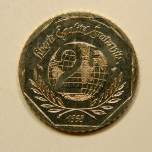 2 Francs René Cassin1998 BU RARE 2500 Exemplaires FDC EB90852