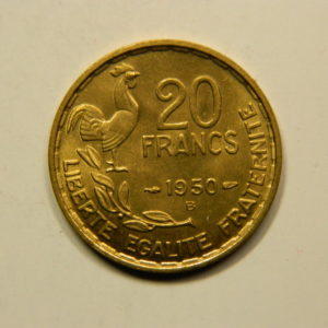 20 Francs Guiraud 1950B 3 Faucilles FDC EB90910