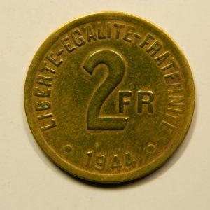 2 Francs France Libre 1944 SUP++ EB90932