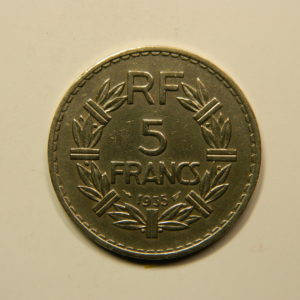 5 Francs Lavrillier Nickel 1935 SUP EB90937