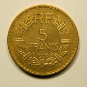 5 Francs Lavrillier  Cupro-Aluminium1938 SUP EB90944