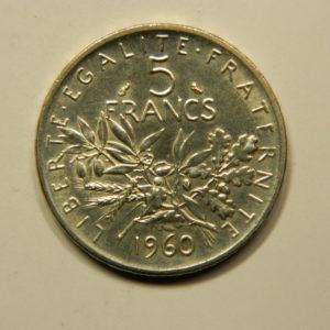 5 Francs Semeuse 1960 FDC Argent 835°/°° EB90948