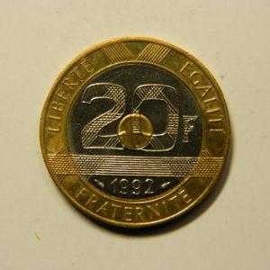 20 Francs Mont St Michel 1992 SPL V serré 4s de cannelures EB90957