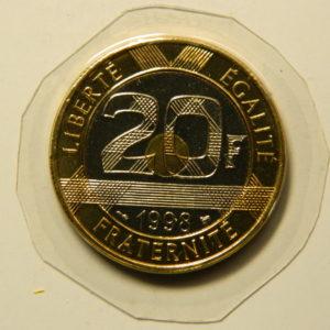 20 Francs Mont St Michel 1998 FDC V serré 4s de cannelures EB90958