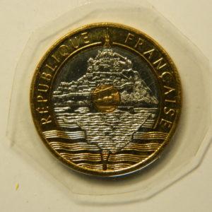20 Francs Mont St Michel 1998 FDC V serré 4s de cannelures EB90959