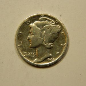 1 Dime Mercury 1944 TTB Etats-Unis Argent 900 °/°° EB90974